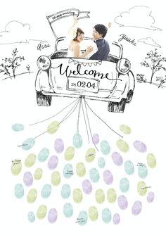 結婚式で盛り上がること間違いナシ!!ゲストと一緒に完成させる、世界に一つだけの参加型ウェルカムボード★ http://www.studio-palette.com/lafiler_info/bridal_lafiler/27021.html #wedding photo #party #wedding #welcomeboard #welcome #guest #寄せ書き #車 #illustration
