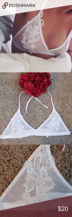 Sheer mesh floral embroidered bralette This knit mesh bralette features floral embroidery on the front. Straps are tied around neck and back. ‼️ Brand is for exposure, this is NOT Victoria's Secret  ‼️ Decoration: Embroidery Material: Polyester, Mesh Sizes: S, M Victoria's Secret Intimates & Sleepwear Bras