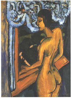 Обнаженная у окна. Ernst Ludwig Kirchner (1880-1938)