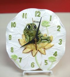 Vintage Sears Roebuck Whimsical Neil The Frog Kitchen Clock 1976 - 1979 On Lilly Pad Ceramic Pottery Made Japan Battery Operated Original by MarksVintageShoppe on Etsy