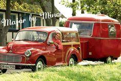 Morris Minor and caravan