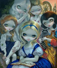 """Alice & The Bouguereau Princesses""  by Jasmine Becket-Griffith  Pop Gallery Exclusive Limited Editions  Edition of 42 - 24"" H x 20"" W x 1.5""D  Gallery Wrapped Canvas  $695  Part of Jasmine's Art History series known as ""Alice in Other Lands"" (exploring the styles & imagery from master painters of past centuries through the eyes of Alice in Wonderland), Alice & the Bouguereau Princesses evokes the Classical poses & sentimental emotions of 1800s artist, William Bouguereau."