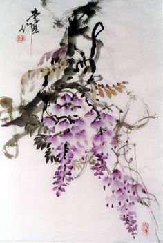 Wysteria Ink Painting pinned with Bazaart Japanese Painting, Chinese Painting, Japanese Art, Ink Painting, Painting Prints, Watercolor Paintings, Watercolour, Magical Tree, China Art