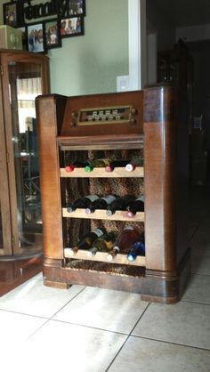 home made wine rack from a 1948 Philco radio #48-1262. New project :)