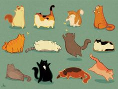 kristinkemper: my favorite animal is fat cats [prints!] kristinkemper: my favorite animal is fat cats [prints! Gato Anime, Cat Reference, Gatos Cats, Cat Art Print, Cat Drawing, Art Design, Cute Illustration, Crazy Cats, Animal Drawings