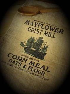 PRIMITIVE INSPIRED MAYFLOWER GRIST MILL FLOUR SACK DECORATIVE TOWEL