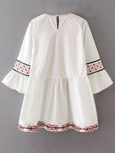 Embroidered Flare Sleeve A-Line Dress Girls Dresses Sewing, Stylish Dresses For Girls, Stylish Dress Designs, Pakistani Fashion Casual, Pakistani Dresses Casual, Pakistani Dress Design, Frock Fashion, Fashion Dresses, Vestidos Sport