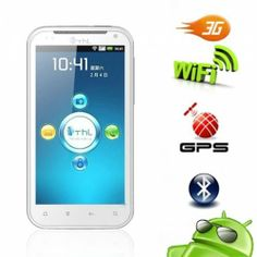 ThL W3+ 4.5 Screen Cell Phone This phone features a Dual SIM, touch screen, GSM Quad Band, 512 MB Memory, 4.5 inch TFT screen, 8 million pixel resolution, 1GHz CPU and WiFi.