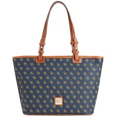 Dooney & Bourke Gretta Signature Small Leisure Shopper ($198) ❤ liked on Polyvore featuring bags, handbags, tote bags, dooney bourke handbags, shopping bag, shopper tote handbags, coated canvas handbags and shopper tote