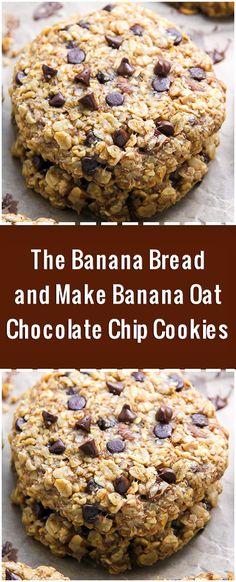 Forget The Banana Bread and Make Banana Oat Chocolate Chip Cookies Oat Chocolate Chip Cookies, Chocolate Cake Recipe Easy, Chocolate Cookie Recipes, Banana Bread Recipes, Easy Cake Recipes, Sweet Recipes, Dessert Recipes, Desserts, Banana Oat Bread