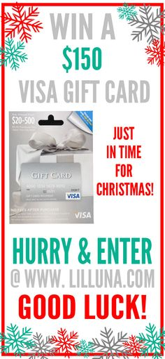 CLICK ON THE IMAGE ABOVE to enter to win a $150 Visa Gift Card - just in time for Christmas!!