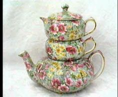 Chintz Teapots | Lord Nelson Chintz Briar Rose Stacking Teapot Stacker Vintage