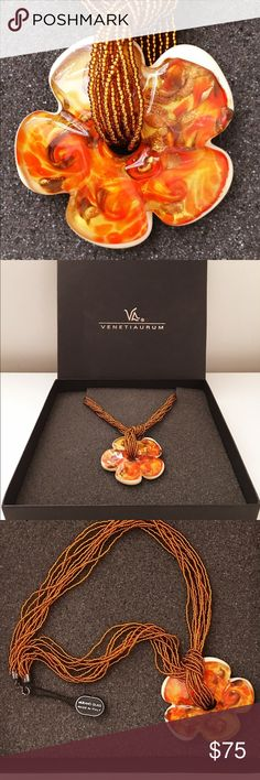 "Never worn Venetiaurum Murano glassbeaded necklace This brand new, never worn Venetiaurum Murano beaded necklace is in it's original packaging. Beautiful, rich colors that are typical of Murano glass jewelry. You can wear the beaded necklace with or without the pendant. With the pendant and unhooked the necklace is approximately 17"" long. You can see how it hangs in the picture. Gorgeous piece that was given to me as a gift from Italy. Unfortunately, it's just not my style and I rarely wear…"