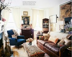 leather couch and other textures to warm up the room