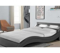 Lit de 2 places CONCEPT USINE Lit Paddington - Cadre de lit en simili cuir Gris avec LED intégrées - 140x190cm