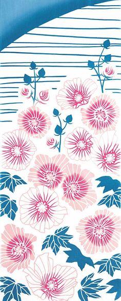 Japanese Tenugui Cotton Fabric Pink Cotton by JapanLovelyCrafts