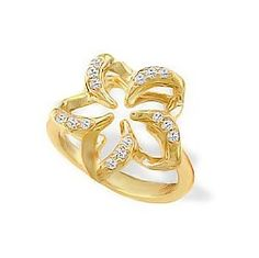Yellow Gold Floating Plumeria Pavé Diamond Ring - New From Na Hoku - Collections
