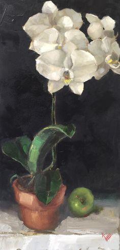 "Orchid, still life, 12""x 24""x1.5"",original, oil, gallery wrap canvas, decor, contemporary, art, by, krista eaton"