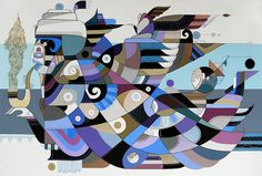 "Songs of the Indian Ocean by Fernando Chamarelli, acrylic on canvas, 60 x 90 cm (23.7"" x 35.5""), 2010"