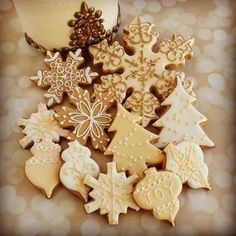 White and ivory Christmas cookies