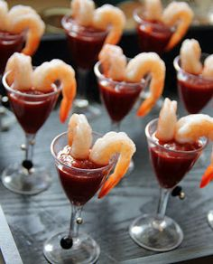 shrimp  & cocktail sauce in mini champagne glasses