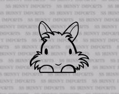 Peeking cute vinyl lionhead decal; bunny car sticker / laptop sticker / phone sticker, glossy black