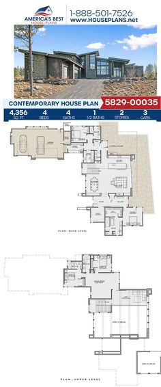 Searching for a home with many features? Plan 5829-00035, a Contemporary design features 4,356 sq. ft., 4 bedrooms, 4.5 bathrooms, a bonus room, a loft, a study, a mud room, and more! Get more details about this design on our webpage today! Contemporary House Plans, Contemporary Bathrooms, Contemporary Design, Floor Plan Drawing, Electrical Plan, Building Section, Floor Framing, Best House Plans, Flat Roof
