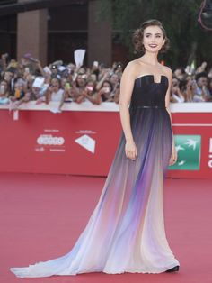 This dress looks like the dawn.  Lily Collins in Elie Saab Haute Couture