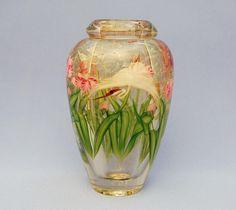 Crane and pink iris vase by Daniel Salazar