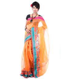 Buy ORANGE hand woven cotton silk saree with blouse banarasi-saree online