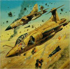 Blackburn Buccaneer S.2-B and a Tornado IDS attacking Iraqi Positions in the First Gulf War 1991