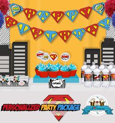 COOL Pop Art Superhero Birthday Party Package - Personalized and Editable Items - Super Package - Birthday complete set printable pdf - PK8