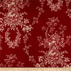 Waverly Country House Toile Red from @fabricdotcom  This medium weight linen rayon blend fabric features a screen printed floral toile pattern with a slub. Perfect for window accents (draperies, valances, curtains and swags), toss pillows, bed skirts, duvet covers and slipcovers, and get creative with tote bags and aprons. Colors include red and cream.