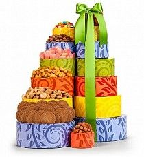 Summer Snack Gift Tower  Our largest summer tower is here and ready to ship to everyone!  Our bright and wonderfully creation of the Summer Snack Gift Tower has been filled with a premium selection of our favorite gourmet seasonal treats that will leave your recipients wanting more!   $59.99 http://www.littlegiftbasketboutique.com/item_1155/Summer-Snack-Gift-Tower.htm