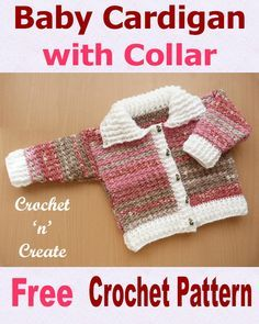 Crochet Baby Patterns A ribbed cardigan with collar, free baby crochet pattern with easy diy design just 2 rows to pattern, cute crochet sweater which crochet up quick, it will make beautiful baby gifts for friends and family. Pull Crochet, Crochet Bebe, Crochet For Boys, Free Crochet, Crochet Gifts, Crochet Baby Sweaters, Crochet Baby Clothes, Baby Knitting, Crochet Baby Blanket Beginner