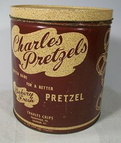 Vintage Tin Canister Container Charles Chips Thin Pretzels