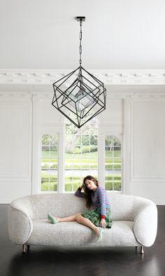 KELLY WEARSTLER | LUCIEN SOFA Circa Lighting Cubist Chandelier