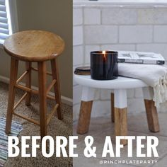 Step by step directions for how to transform an old barstool into a chic bathroom stool.