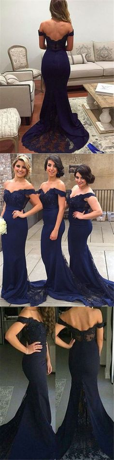 navy blue long mermaid prom dress/bridesmaid dress/evening dress 2016, off-the-shoulder mermaid long navy homecoming dress with train, wedding party dress