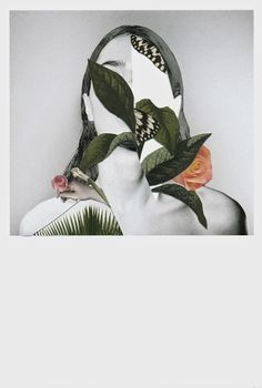 palm leaves on girl #collage