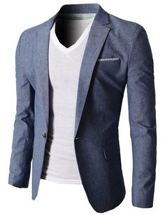 H2H Mens Stylish Slim fit Linen Blazer With One Button BLUE US M/Asia XL (KMOBL061)