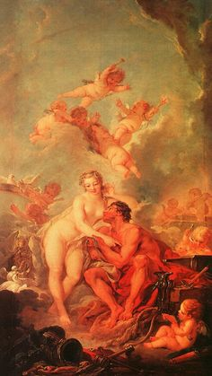 Painting by Francois Boucher: The Visit of Venus to Vulcan (1754) when you need a lite Rococo in your life.