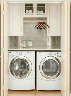 Great idea for a small laundry room