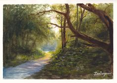 Late afternoon sun lights a track through an oak wood on Wimbledon Common, south west of London.  Watercolour painting by Dai Wynn on smooth surface Arches french cotton paper.  21 cm high by 29.5 cm wide (8.25 inches by 11.75 inches) approximately.  To check on availability for purchase, please visit http://www.daiwynn.com/artist/evening-on-wimbledon-common/