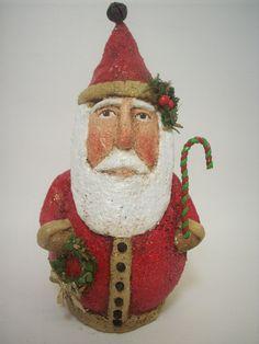 Primitive Paper Mache Folk Art Red Santa by papiermoonprimitives