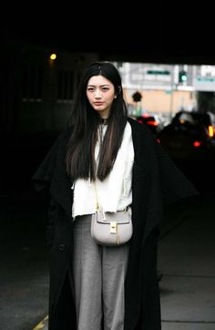 black white and grey outfit with chloe bag