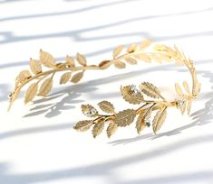 Bridal Crystal Gem Greek Goddess Tiara Hair Piece. Diamond Gold Laurel Leaf Crown Headpiece. Wreath for Princess Bride Sweet16 Prom Birthday