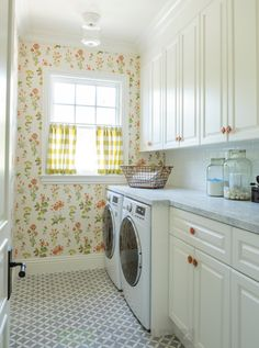 This is a quaint laundry room with some great counter space.  Wouldn't it be nice to have some more room to do the sorting and folding?