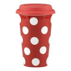 Dot Mug Red with Silicone Lid  crateandbarrel.com