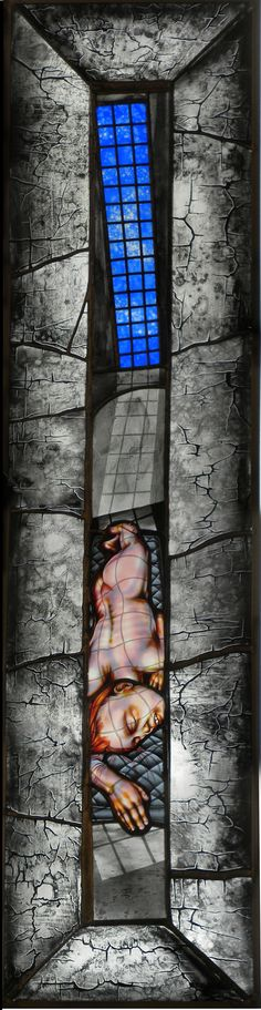 Courtesy of the Artist and Claire Oliver Gallery  Judith Schaechter  Mary Magdalene:  Stained glass lightbox  57 x 15 in.